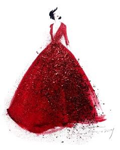 Ilustración del vestido de Elie Saab que vistió la cantante Pink en la gala de los Oscar 2014 para interpretar 'Somewhee over the rainbow'.
