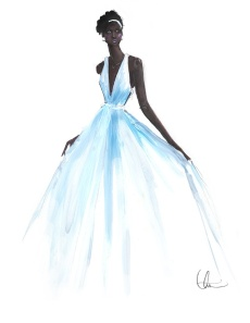 Ilustración del vestido de Prada que Lupita Nyong'o vistió en los Oscar 2014.